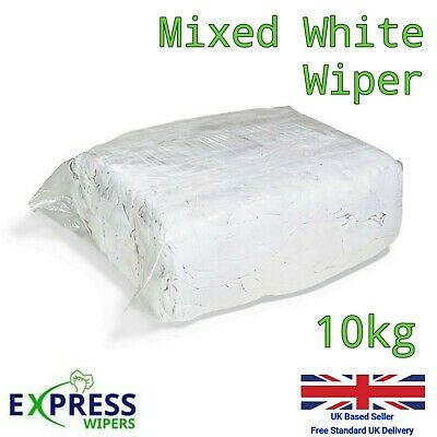 £19.99 • Buy 10kg Bag White Cotton Mix Cleaning Rags Wiping Wipers Garage Engineering Cloths
