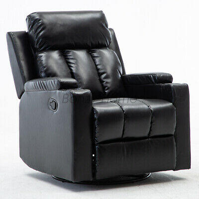 $299.99 • Buy Manual Recliner Swivel Chair Glider Rocker Leather Lounge With Cup Holders Sofa