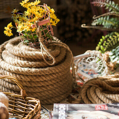 Twisted Hessian Rope Cord 100% Natural Jute Braided Sash Garden Cat Scratching • 10.74£