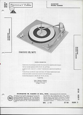 $ CDN5.51 • Buy 1962 PHOTOFACT Silvertone Record Changer Turntable Model Chassis 528 56771 #249