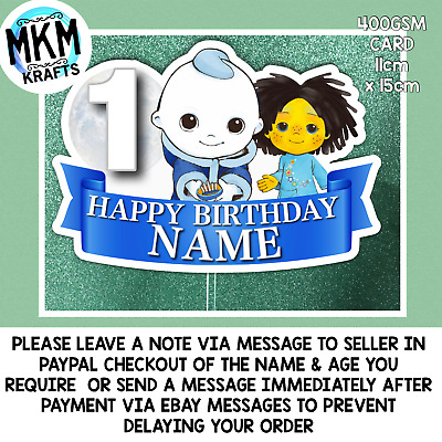 £4.99 • Buy Moon And Me PERSONALISED BIRTHDAY CARD CAKE TOPPER STAND UP 6  PARTY SUPPLIES