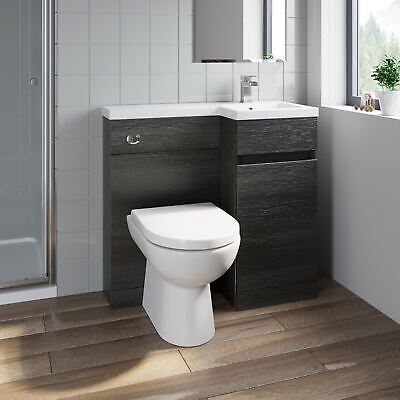 £349.99 • Buy 900mm Bathroom Vanity Unit Basin Toilet Combined Furniture Right Hand Charcoal