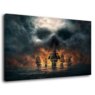 Skull And Crossbones Pirate Ship Eerie Clouds Canvas Wall Art Picture Print • 36.99£
