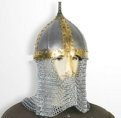 Russian Helmet 16 Gauge Steel With Chainmail Use SCA -Functional Medieval  • 55.79£