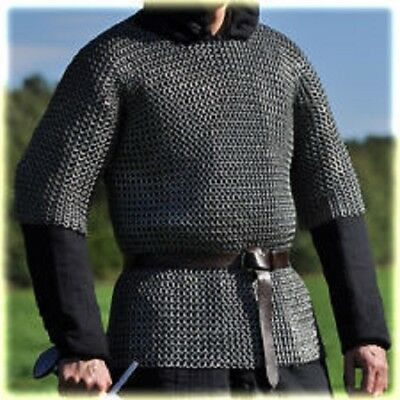 Mild Steel 9 Mm Chainmail Shirt Riveted Flat Ring Half Sleeve Medium Size • 128.34£