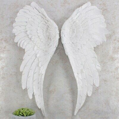 Pair Of Large Glitter Angel Wings Wall Home Hanging Decor 54cm White Iridescent • 58.90£