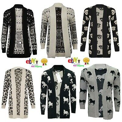 UK Women Long Sleeve Jumper Open Cardigan Owl / Horse/ Skull Print Knitted Cad • 11.95£