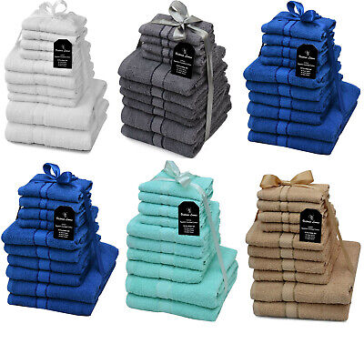 10 Piece Soft Cotton Towels For Bath,Hand,Face Bale Gift Set Of Luxury Bathroom • 15.89£