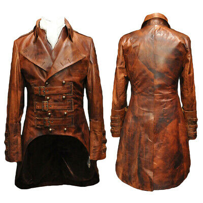 Mens Steampunk Gothic Leather Trench Coat Jacket Goth Punk Victorian Matrix Coat • 75.28£
