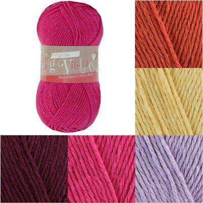 £3 • Buy SALE King Cole Big Value Recycled Cotton Aran Yarn Knitting 85% Cotton 100g