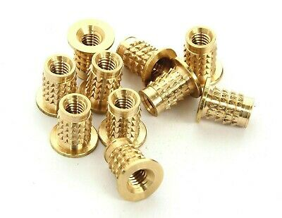 £4.39 • Buy Threaded Brass Inserts Flanged Headed Press In Barbed M.1.6 M2 M3 M3.5 M4 M5 M6