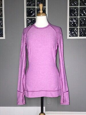 $ CDN66.30 • Buy Lululemon Think Fast Long Sleeve 6 Heathered Ultra Violet Eeuc Ls