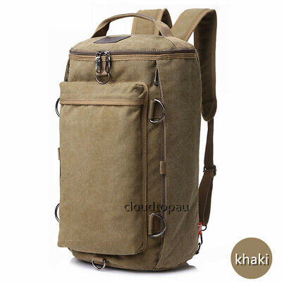 AU36.69 • Buy Convertible Canvas Camping/Hiking/Sport/Travel Rucksack Backpack Light Carry Bag