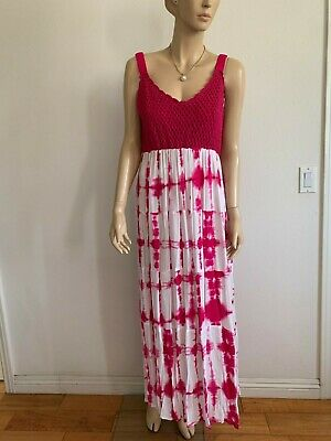 $28.99 • Buy Studio West Apparel Pink Tie Dye Crochet Top Tiered Gypsy Tank Dress Size M/l
