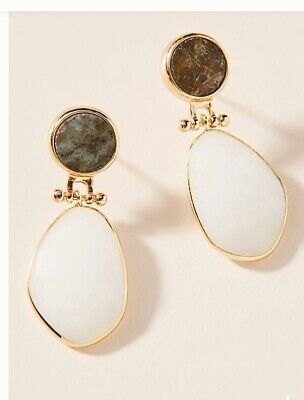 $ CDN35.17 • Buy Anthropologie Kyla Drop Earrings Nwt Gold White New Arrival