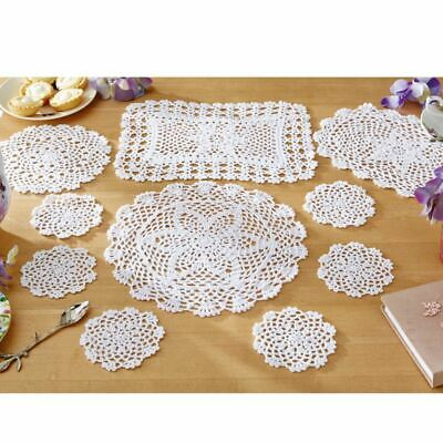 White Floral Lace Pack Of 10 Traditional Table Mats • 1.99£