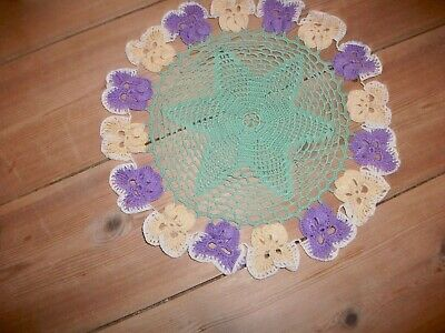 Vintage Crochet With Violets Dressing Table Mat /doily  • 4.99£