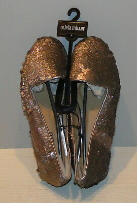 $14.99 • Buy Olivia Miller Womens Gold Bronze Sparkle Sequin Flats Shoes Size 6 NEW