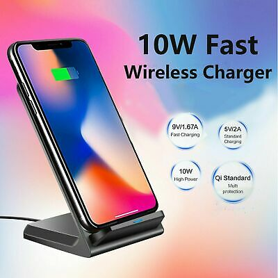 AU20.67 • Buy Qi Wireless Charger Fast Charging Stand Dock For Samsung S9 S10 S20 Plus Note10