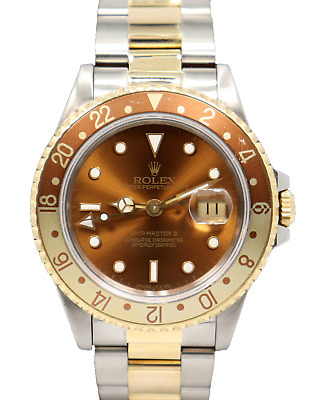 $ CDN15781.25 • Buy Rolex GMT-MASTER II 16713 Root Beer Two Tone 18K Yellow Gold/SS FULLY SERVICED
