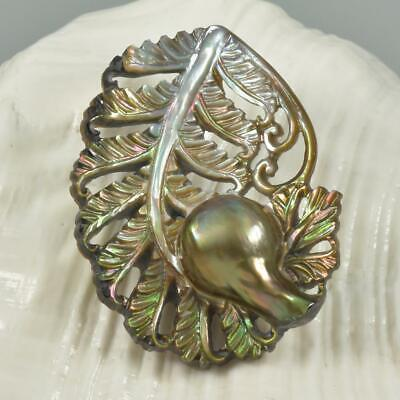 $39 • Buy Mabe Blister Pearl In Shell Lustrous Iridescent Fern Leaf Carving Handmade 9.97g