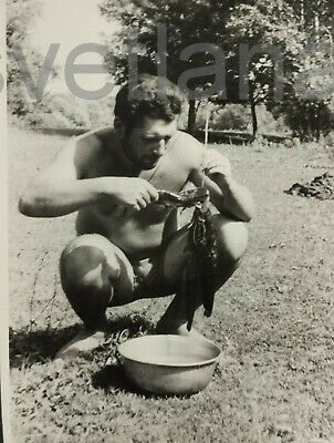 $ CDN7.05 • Buy FISHING Handsome Young Man Bearded Shirtless Hairy Guy COOK Russia Vintage Photo