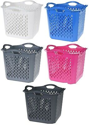 Square Large Deep Laundry Basket Washing Clothes Basket Stackable Bright Colours • 9.99£
