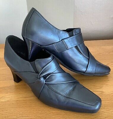 Hotter Comfort Concept Pewter Leather Heel Shoes Size UK5.5 • 3.99£