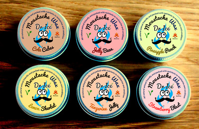 Moustache Wax- Vegan - Argan Oil Based -  Sweet Shop Scents • 11.99£