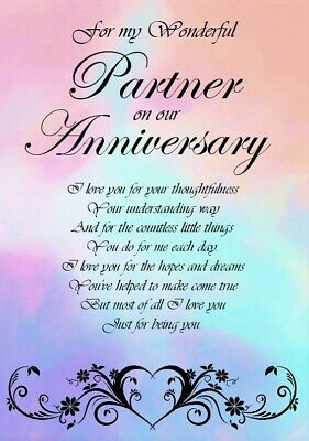 'To A Wonderful Partner On Our Anniversary' A5 Card - Love Keepsake Memories • 3.99£