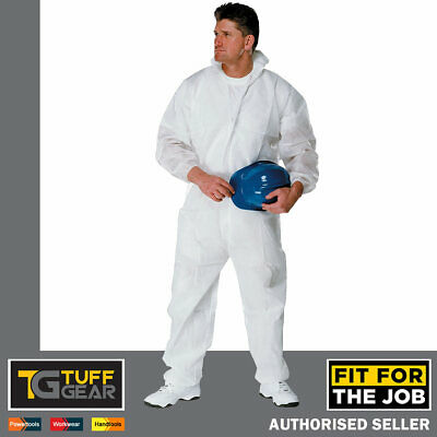 £6.95 • Buy FFJ White Disposable Overalls Lightweight Coverall Hood Zipped Painting Spray