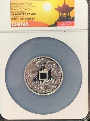 $499 • Buy 2018 CHINA 2 Oz DRAGON AND PHOENIX PF70 ULTRA CAMEO MEDAL. 1 Of 888