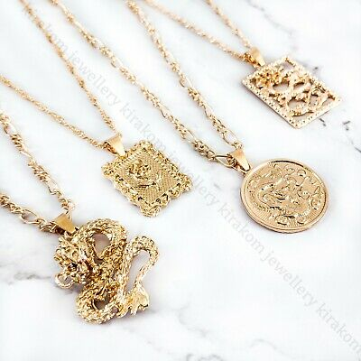 £4.99 • Buy Square Coin Circle Gold Dragon Necklace Chain Choker Fashion Lucky Symbol Mascot