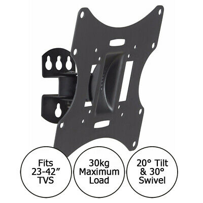 DRX 23-42 Inch TV Monitor Wall Bracket Mount Tilt And Swivel With 30kg Capacity • 9.99£