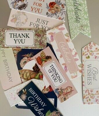 12 Mixed Sentiments/Banners Card Toppers,Birthday Bundle Cards/scrapbooking #29 • 0.01£