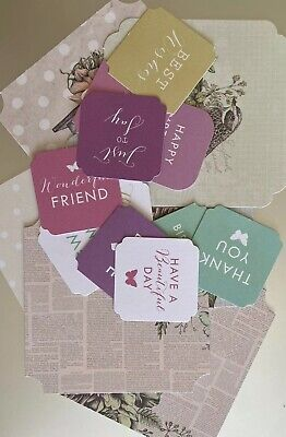 12 Mixed Sentiments/Banners Card Toppers,Birthday Bundle Cards/scrapbooking #28 • 0.01£