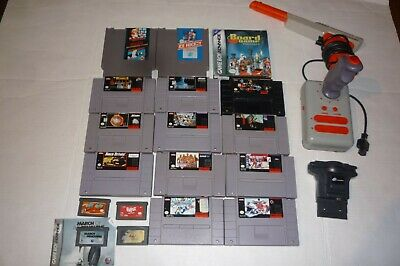 $ CDN145 • Buy Nintendo Nes Snes Gameboy Lot Of 18 Games Zapper Joystick Docking E-reader