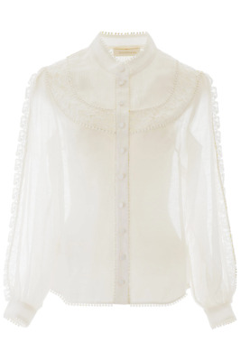 $740 • Buy NEW Zimmermann Shirt With Lace Inserts 7533TSUP Ivory AUTHENTIC NWT