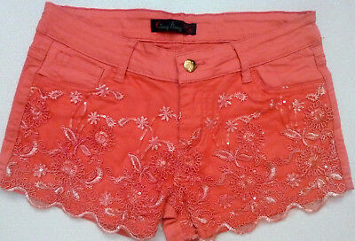 AU24.95 • Buy Women's Bershka Shiny Embroidery Coral Pockets Shorts Size: 8 AU LL05# G