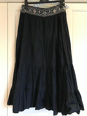 Ethnic Ankle Length Black Heavy Skirt Sequins Indian Approx S 10-12 • 0.99£