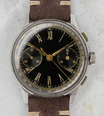 $ CDN458.33 • Buy Vintage Anonymous Gilt-Dial Chronograph Wristwatch 38mm Steel Valjoux 22 NR
