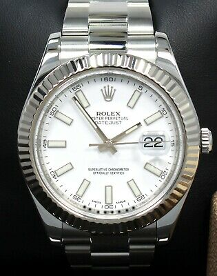 $ CDN11159.77 • Buy Rolex Datejust II 116334 41mm White Dial 18K White Gold Fluted Bezel Watch MINT