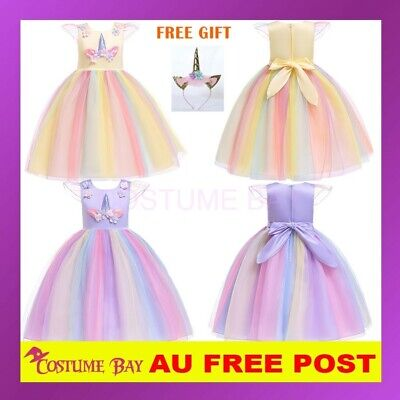 AU29.45 • Buy Kids Girls Flower Girl Unicorn Dress Princess Tutu Formal Wedding Birthday Party