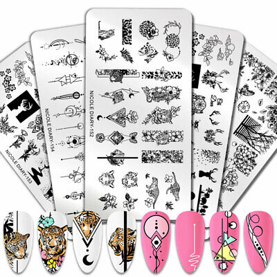 $1.29 • Buy NICOLE DIARY Animal Flowers Stamping Plates Tiger Nail Art Image Stamp Stencil