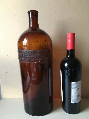 "Large Vintage Apothecary Chemist Bottles Brown Glass 39 Cm 15"" 120 Fl Oz • 25£"