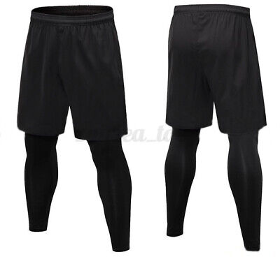 Mens Base Layer Sports Jogging Running Leggings Gym 2-in-1 Fitness Shorts Pants • 10.75£