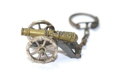 Metal Replica Cannon Moving Parts 3 1/2  Keyring Bronze Colour Preloved • 4.99£