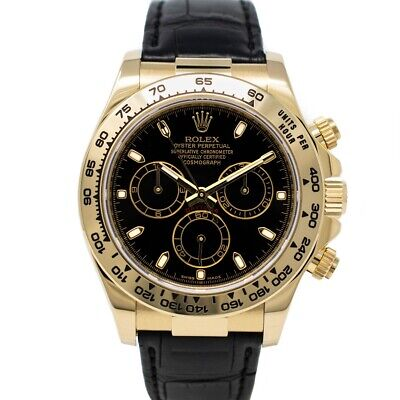 $ CDN28322.29 • Buy Rolex Cosmograph Daytona Yellow Gold 116518 Wristwatch - Black Dial, Black Strap