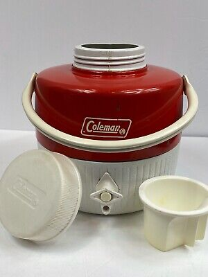 $10 • Buy Vintage 1970s Coleman 1 Gallon Metal Thermos Water Cooler Jug Complete  (Red)