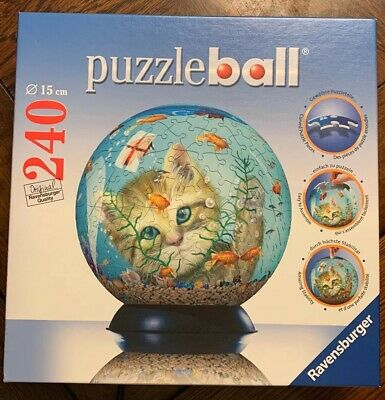 $6.99 • Buy RAVENSBURGER 3D 240 PIECE PUZZLE BALL KITTY/CAT GOLDFISH BOWL Preowned Complete